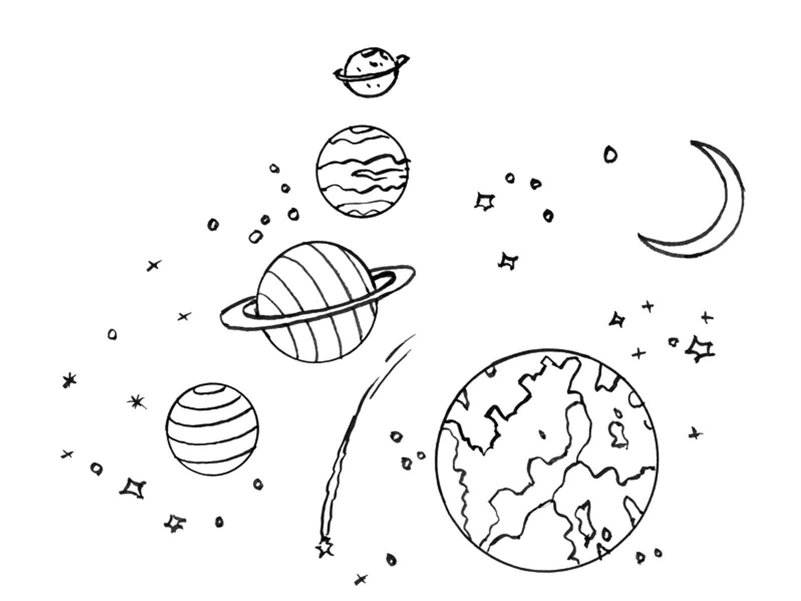 Раскраска Планеты солнечной системы Скачать Космос, планета, Вселенная, Галактика.  Распечатать ,космос,