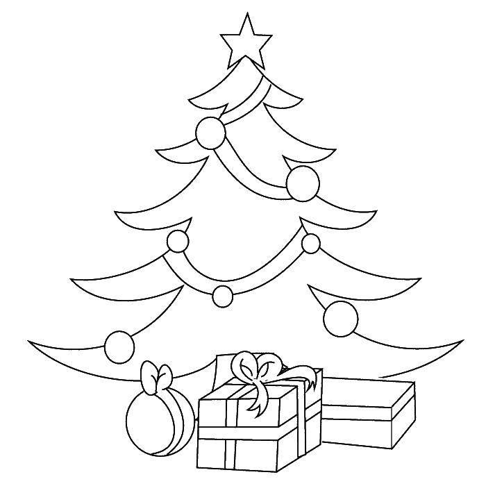 Раскраска Под ёлкой лежат подарки Скачать Новый Год, ёлка, подарки, игрушки.  Распечатать ,новый год,
