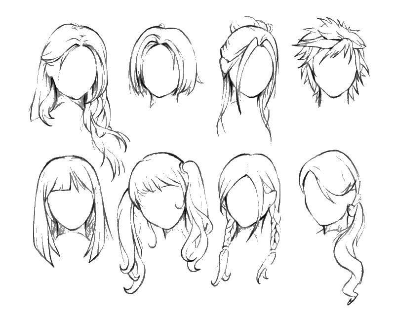 Раскраска Разные женские прически. Скачать прически, для девочек, волосы.  Распечатать ,прически,