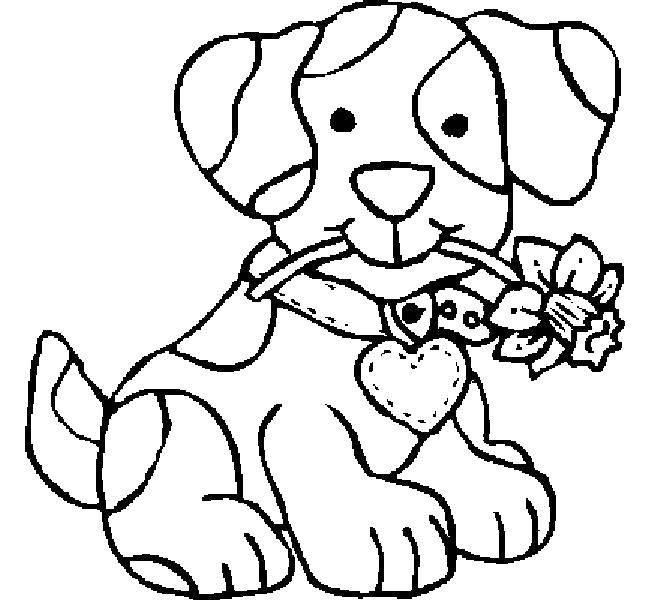 Раскраска Щеночек с цветком. Скачать животные, собака, щенок, пес.  Распечатать ,Животные,