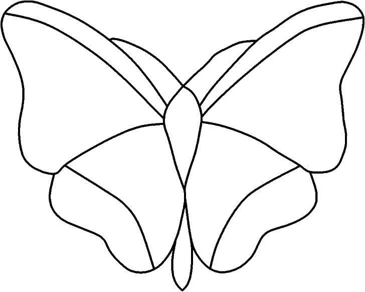 Раскраска Вырежи бабочку Скачать Контур, бабочка.  Распечатать ,контуры для вырезания бабочек,
