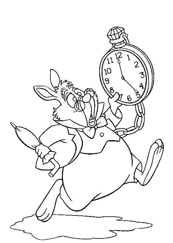 Раскраска Заяц из алисы в зазеркалье Скачать алиса в зазеркалье, мультфильмы, заяц.  Распечатать ,раскраски,