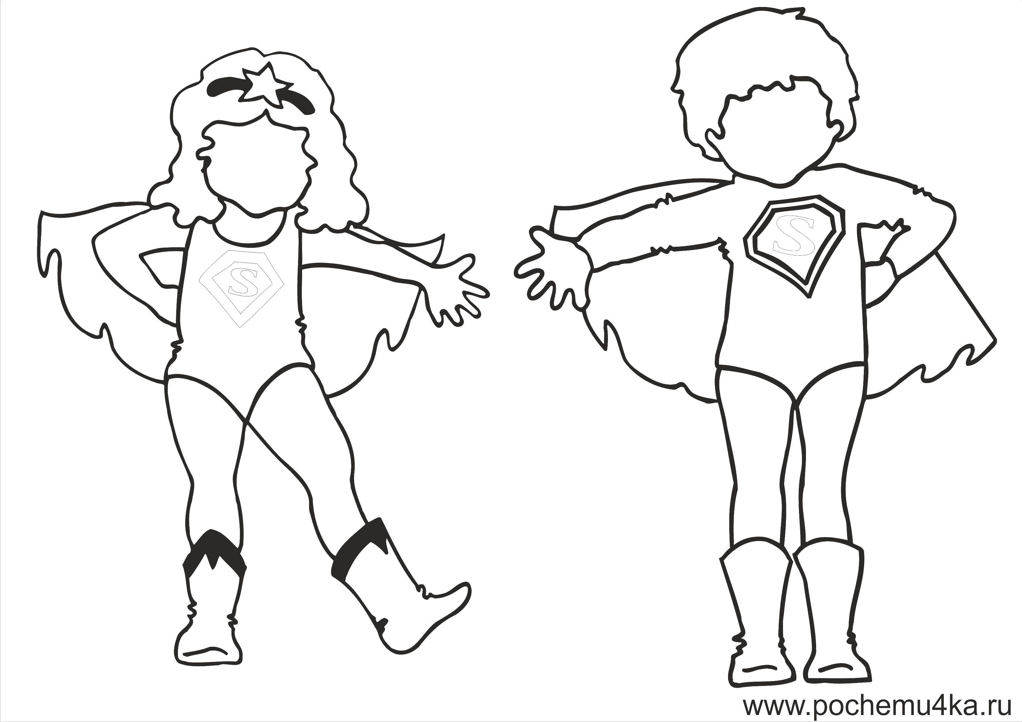 Название: Раскраска Детские костюме суперменов. Категория: дети. Теги: дети, супермены.