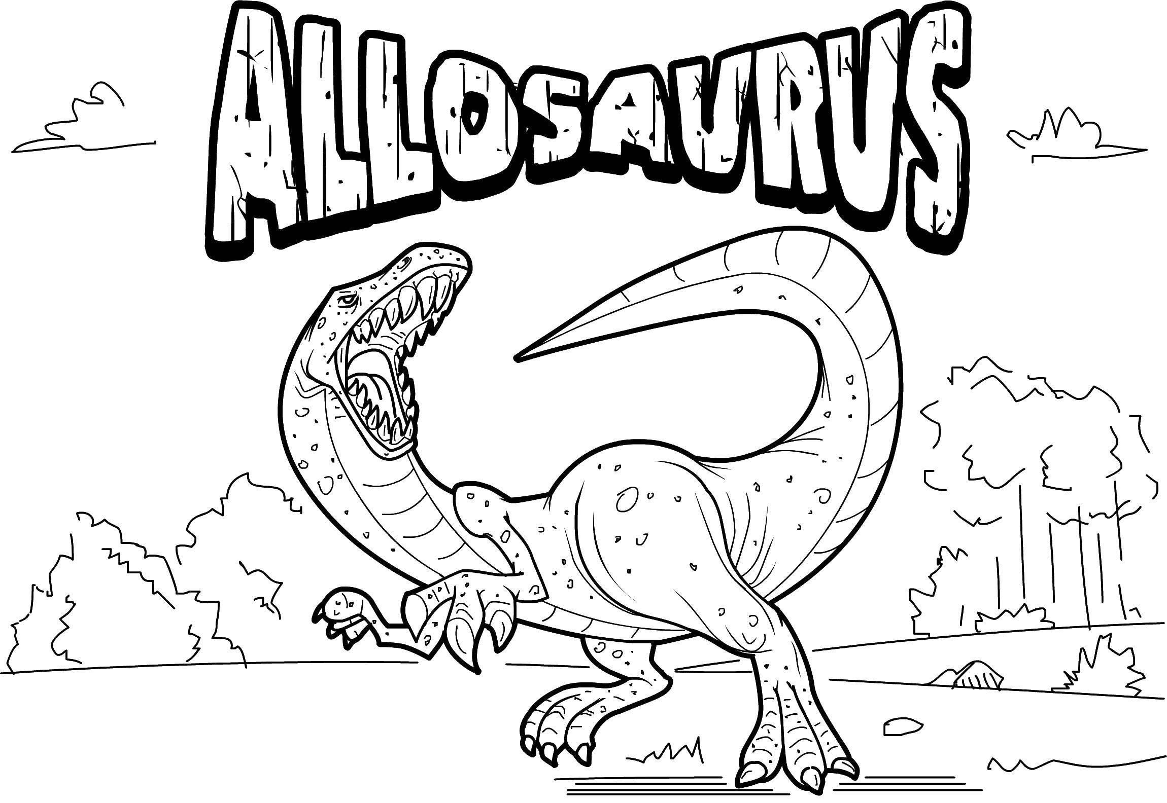 Название: Раскраска Древний аллозавр. Категория: парк юрского периода. Теги: Динозавры.