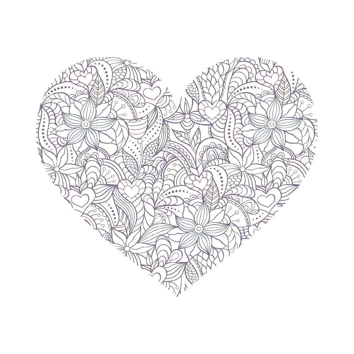 Раскраски Раскраска Цветочное сердце Антистресс, Раскраски ...