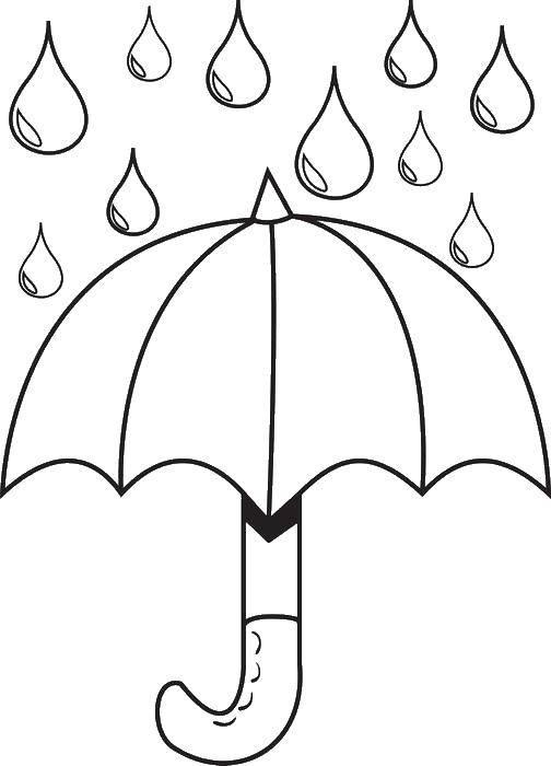 Раскраска весна Скачать ,зонтик, дождь,.  Распечатать