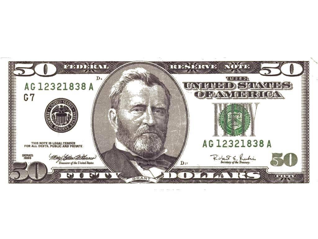Раскраска 50 долларов Скачать ,Деньги,.  Распечатать