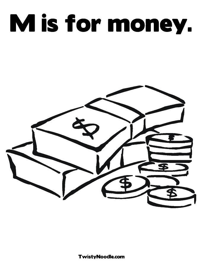 Раскраска Д значит деньги. Скачать Деньги.  Распечатать ,Деньги,