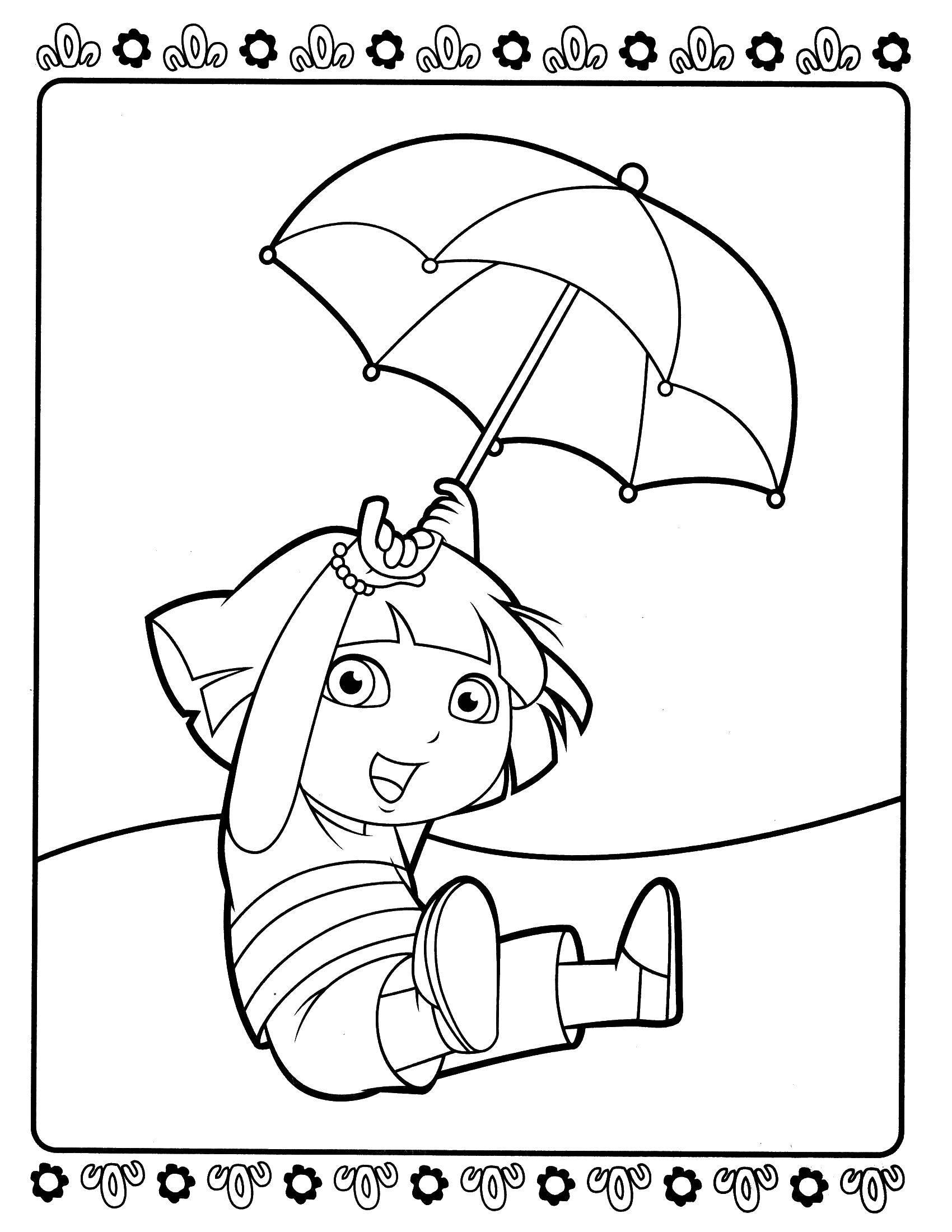 Раскраска Даша летит на зонтике Скачать ,Персонаж из мультфильма,.  Распечатать
