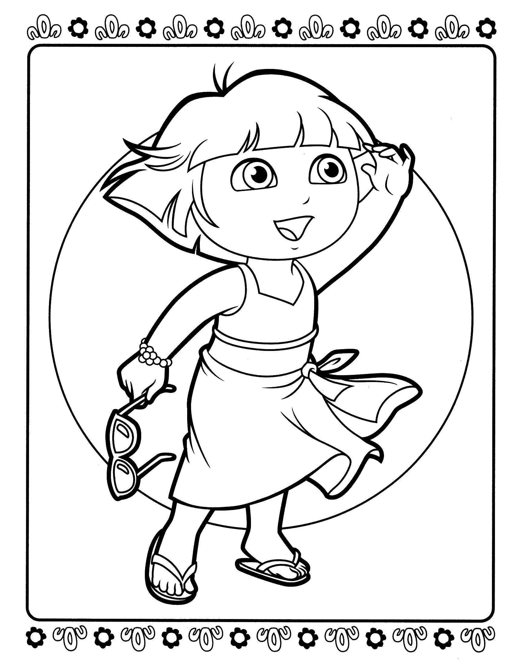 Раскраска Даша на солнышке Скачать ,Персонаж из мультфильма,.  Распечатать