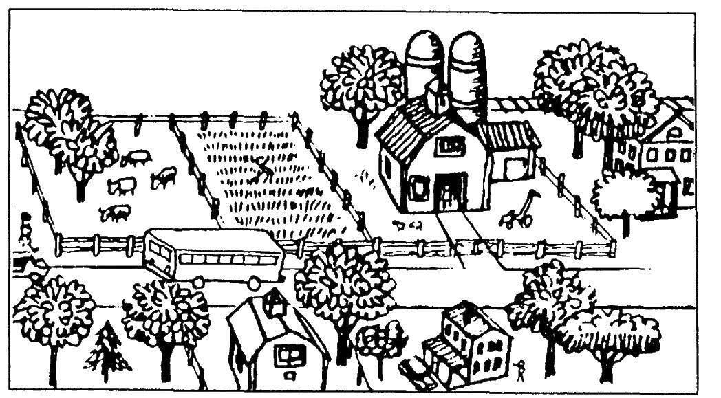 Раскраска Деревенька. Скачать ,деревня, домик,.  Распечатать