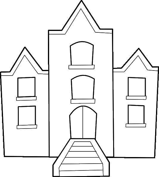 Раскраска Дом с крыльцом. Скачать Дом, здание.  Распечатать ,дома,
