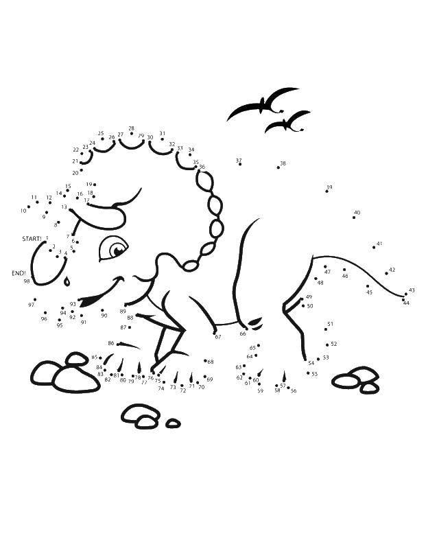Раскраска Дорисуй носорога Скачать по точкам, по номерам, носороги.  Распечатать ,Нарисуй по точкам,