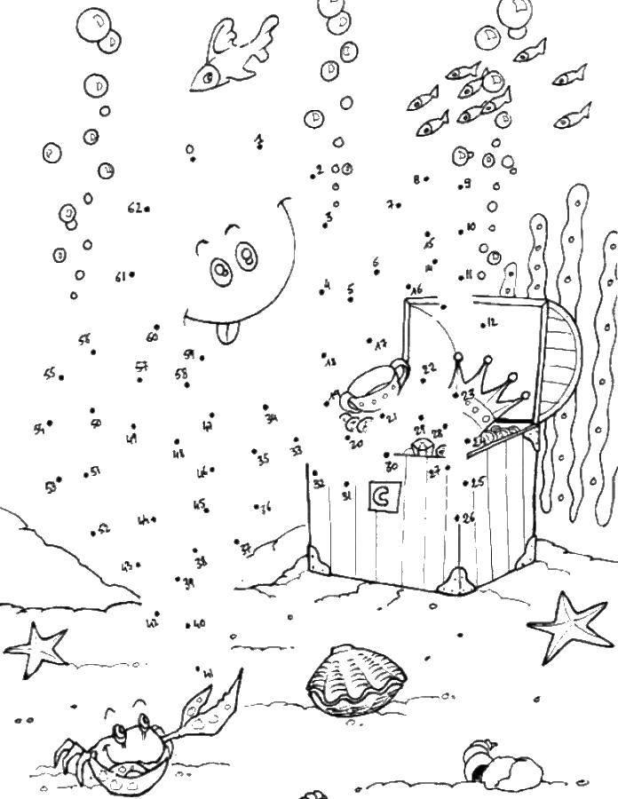 Раскраска Дорисуй по точкам подводный мир Скачать по точкам, по номерам, подводный мир.  Распечатать ,Нарисуй по точкам,