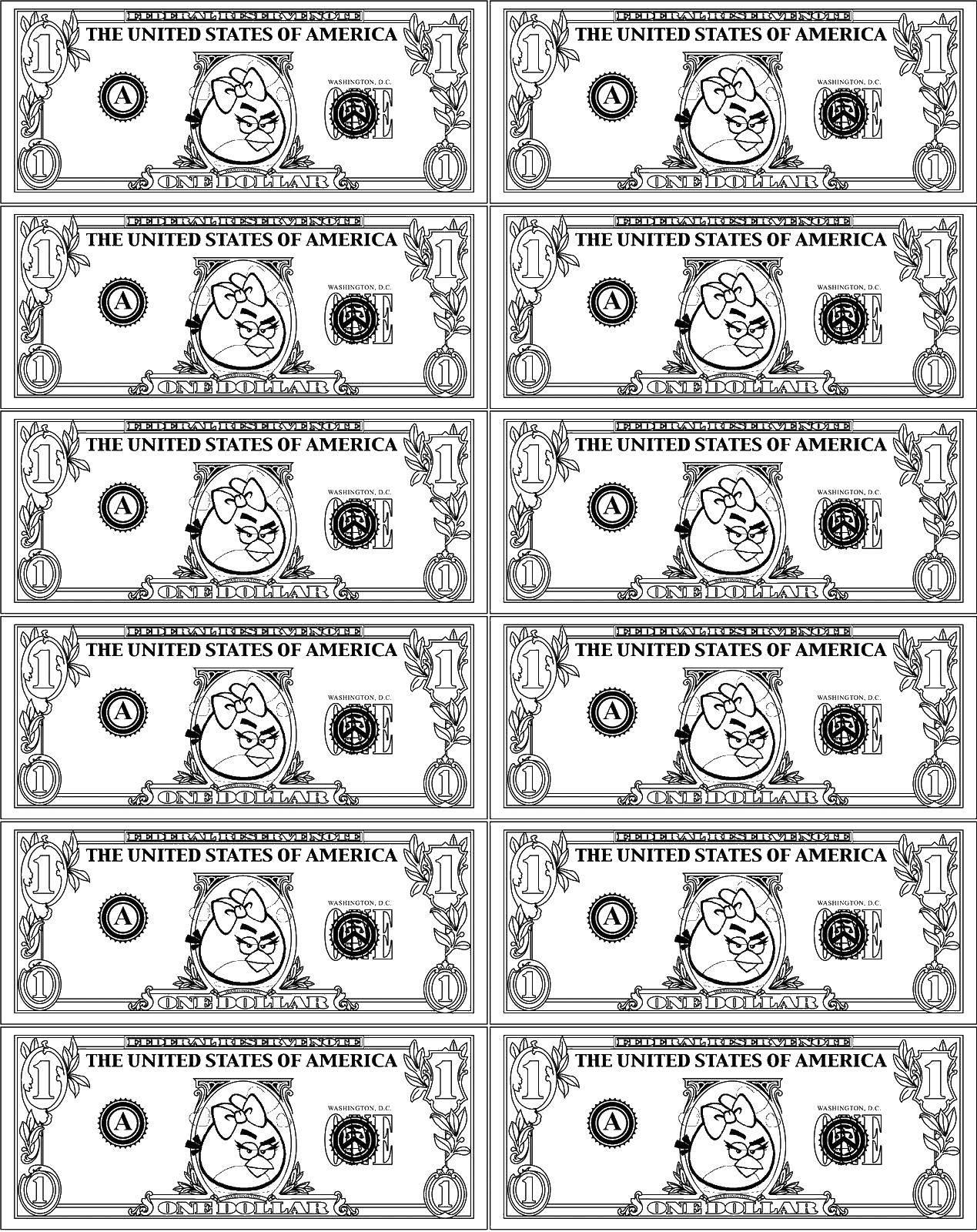 Раскраска Энгри бёрдс купюры Скачать Деньги.  Распечатать ,Деньги,