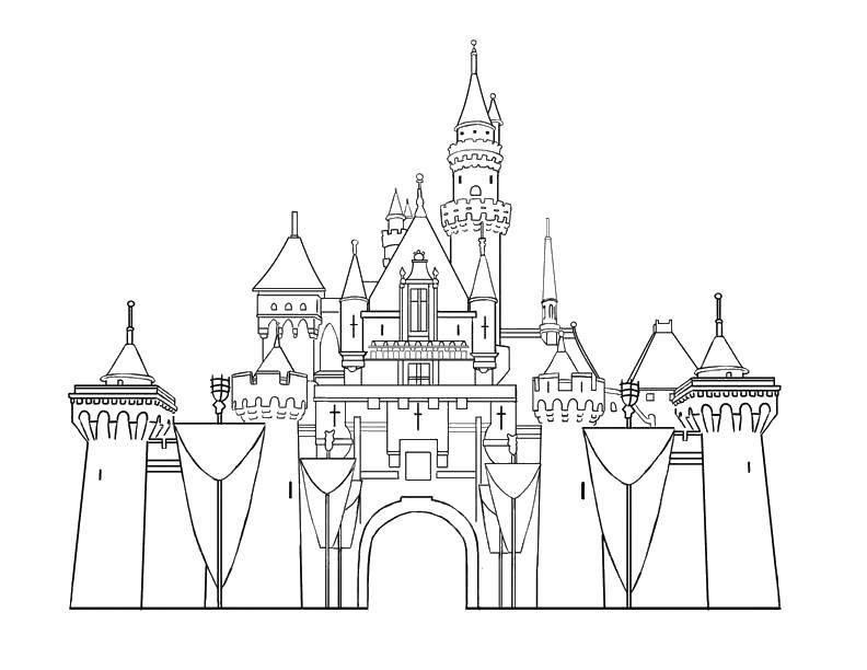 Раскраска Гигантский замок. Скачать Замок.  Распечатать ,Замки,