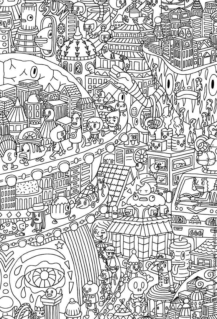 Раскраска Город роботов Скачать Робот.  Распечатать ,робот,
