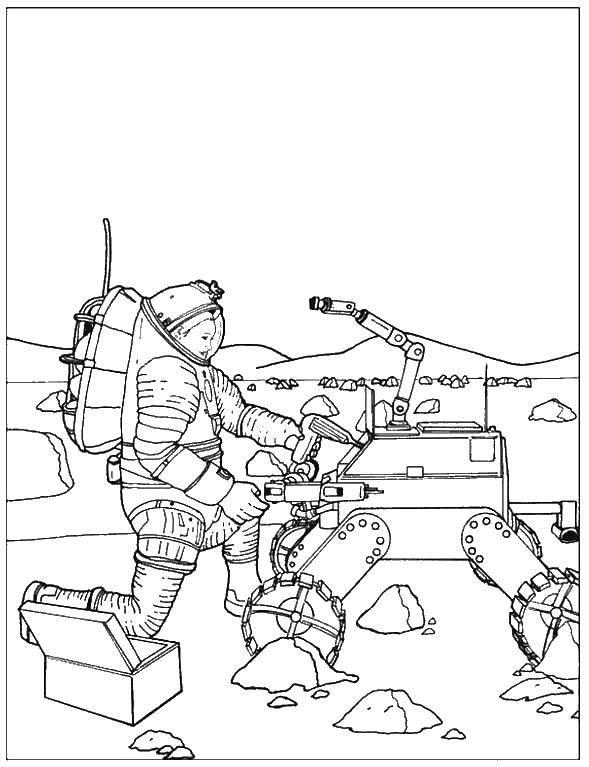 Раскраска День космонавтики Скачать ,Рука, кисть,.  Распечатать