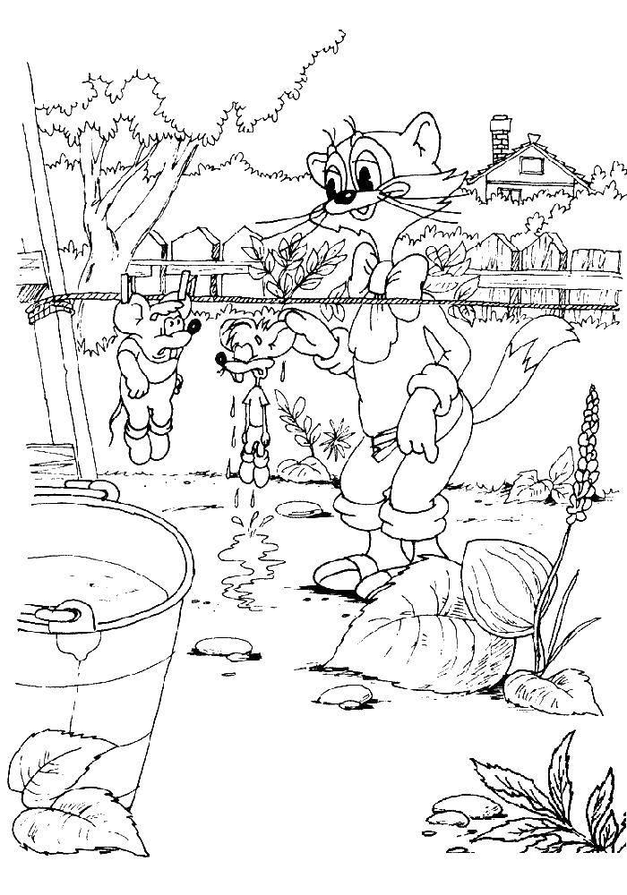 Раскраска Кот леопольд и мышки Скачать кот леопольд, мультфильмы, мышки.  Распечатать ,раскраски кот леопольд,