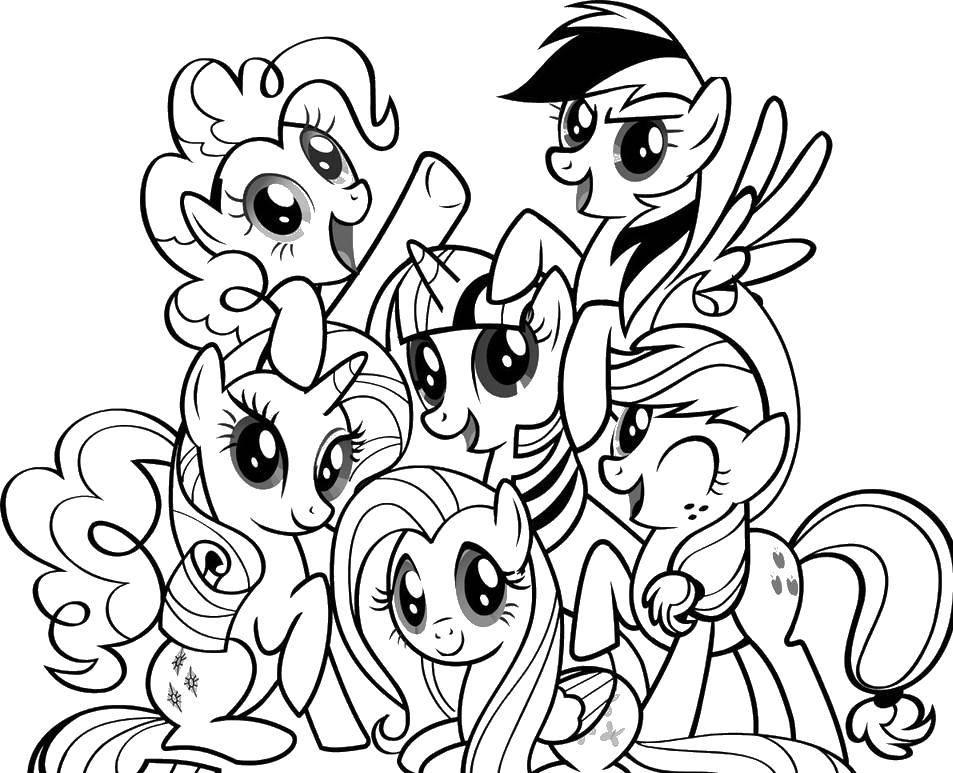 Раскраска Красавицы поняшки Скачать Пони, My little pony .  Распечатать ,мой маленький пони,