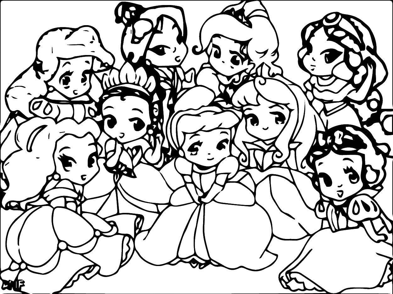 Раскраска Маленькие диснеевские принцессы Скачать Диснеевские мультфильмы, принцессы.  Распечатать ,Диснеевские раскраски,