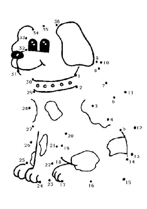 Раскраска Нарисуй по цифрам щенка Скачать Образец, цифры.  Распечатать ,Нарисуй по точкам,