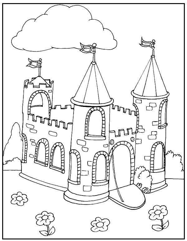 Раскраска Открытые ворота Скачать Замок.  Распечатать ,Замки,