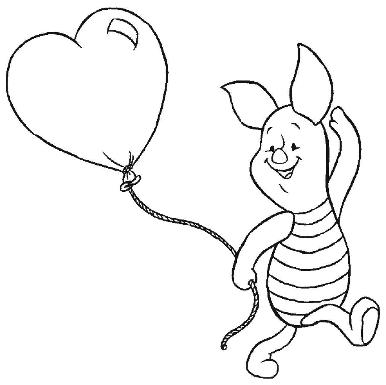 Раскраска Поросенок пяточек с шариком Скачать Диснеевские мультфильмы, Винни Пух, Пяточек.  Распечатать ,Диснеевские раскраски,