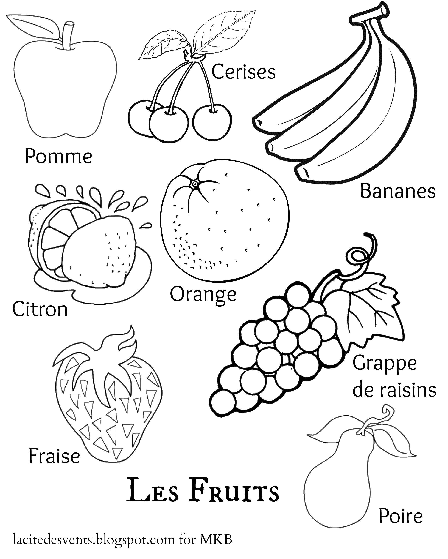 Раскраска Разные фрукты и ягоды на французском Скачать фрукты, ягоды, французский язык.  Распечатать ,фрукты,