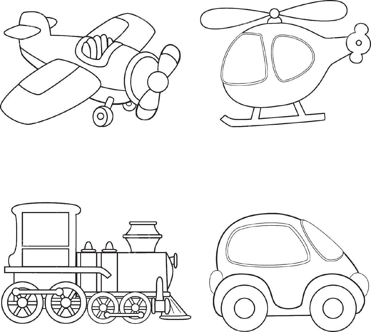 Раскраска Разный транспорт. Скачать транспорт.  Распечатать ,транспорт,