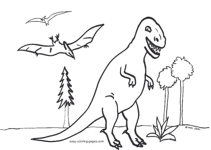 Раскраска динозавр Скачать дети, костюмы, принц, принцесса.  Распечатать ,раскраски,