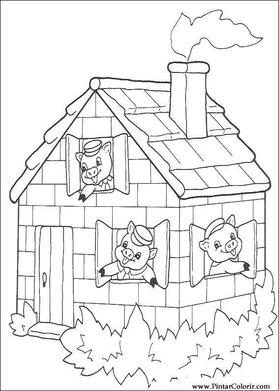 Раскраска Три поросенка в домике Скачать сказка, мультфильм, три поросенка.  Распечатать ,три поросенка,