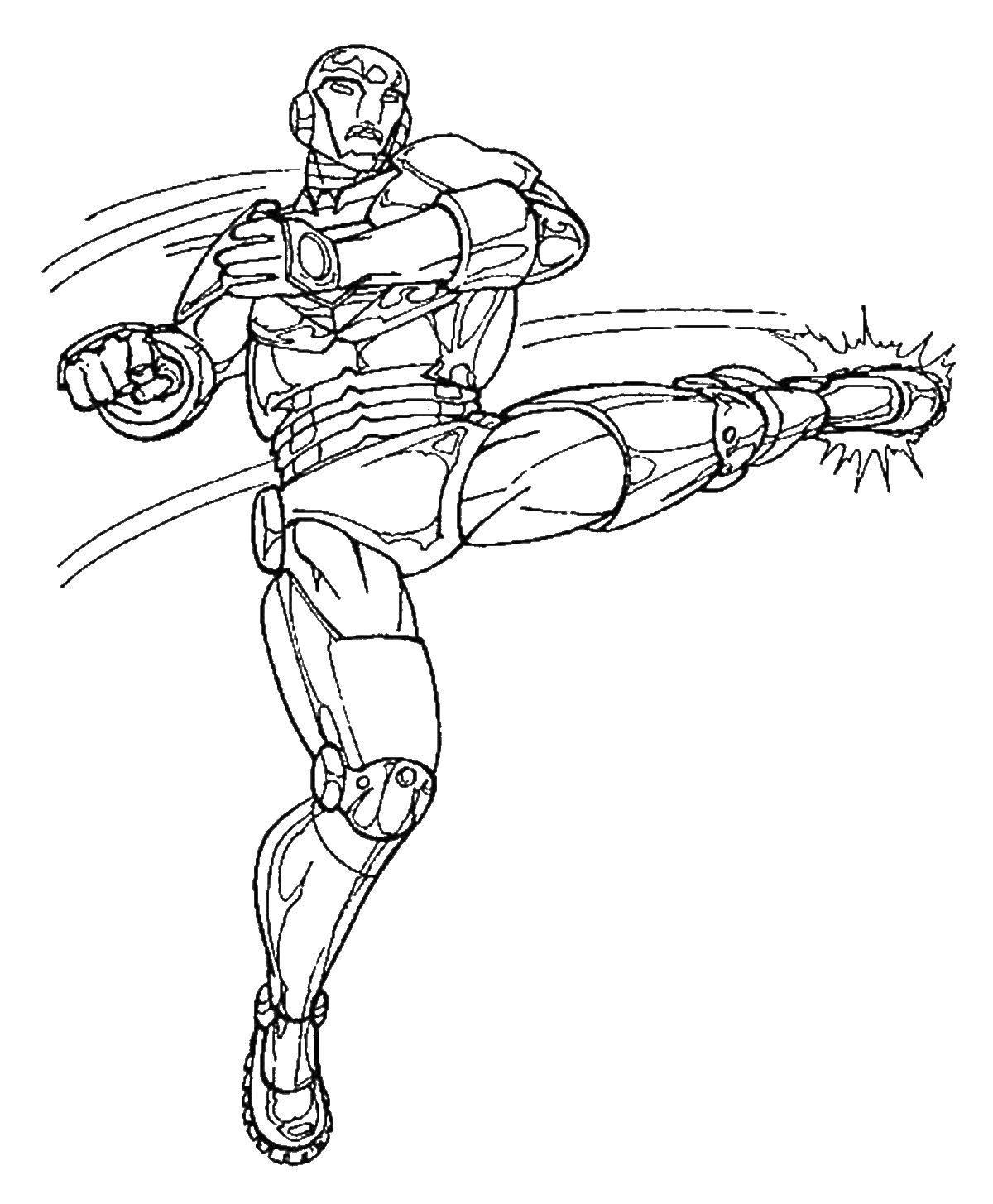 Раскраска Удар железного человека Скачать УДар, железный человек.  Распечатать ,железный человек,