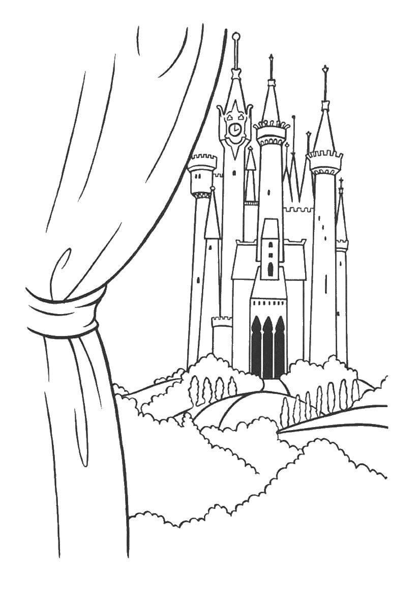 Раскраска замки Скачать единорог, крылья, корона.  Распечатать ,мой маленький пони,