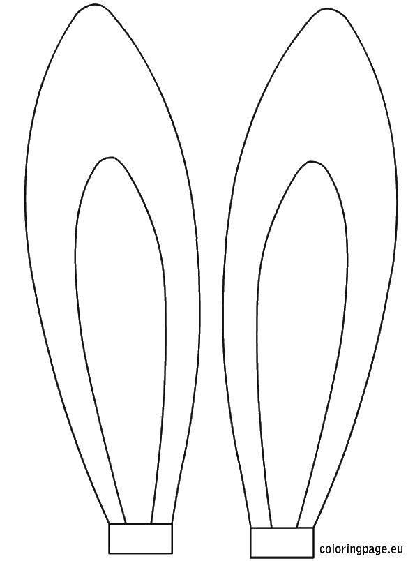 Раскраска Заячьи ушки Скачать Уши.  Распечатать ,Контуры для вырезания,