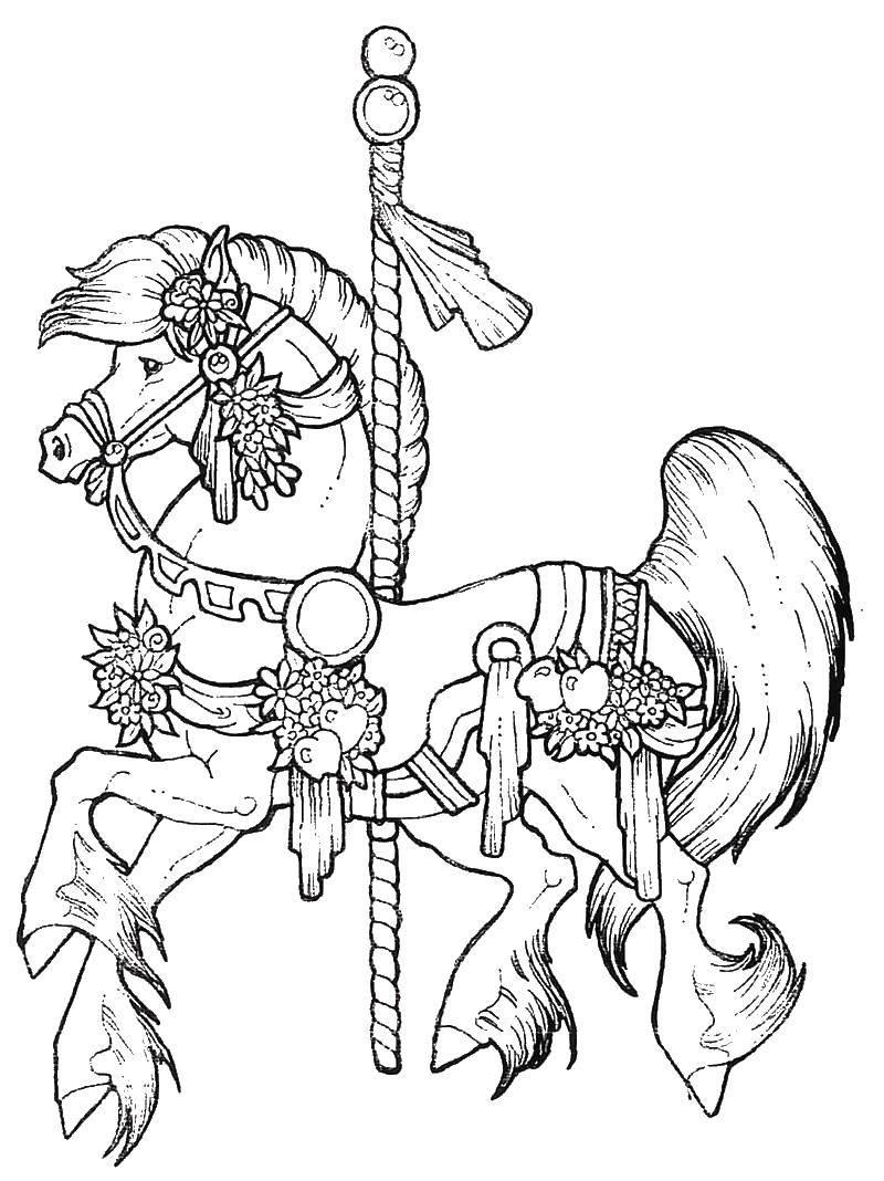Раскраска Аттракцион лошадка Скачать парк.  Распечатать ,Летние развлечения,