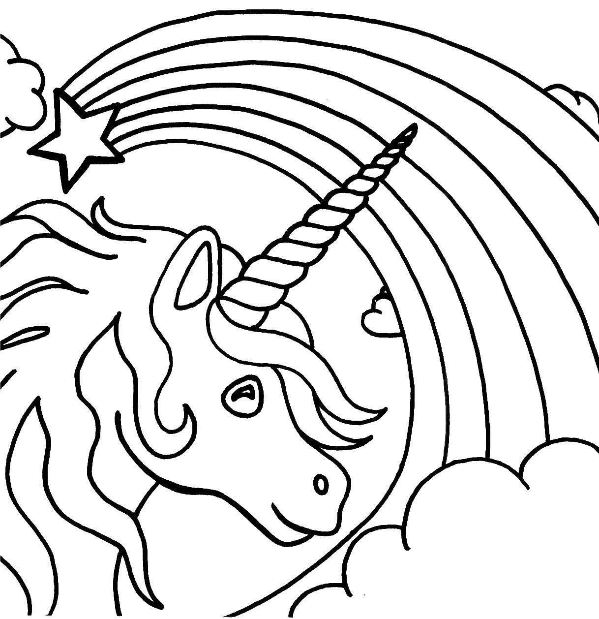 Раскраска Единорог и радуга.. Скачать Животные, единорог.  Распечатать ,единороги,