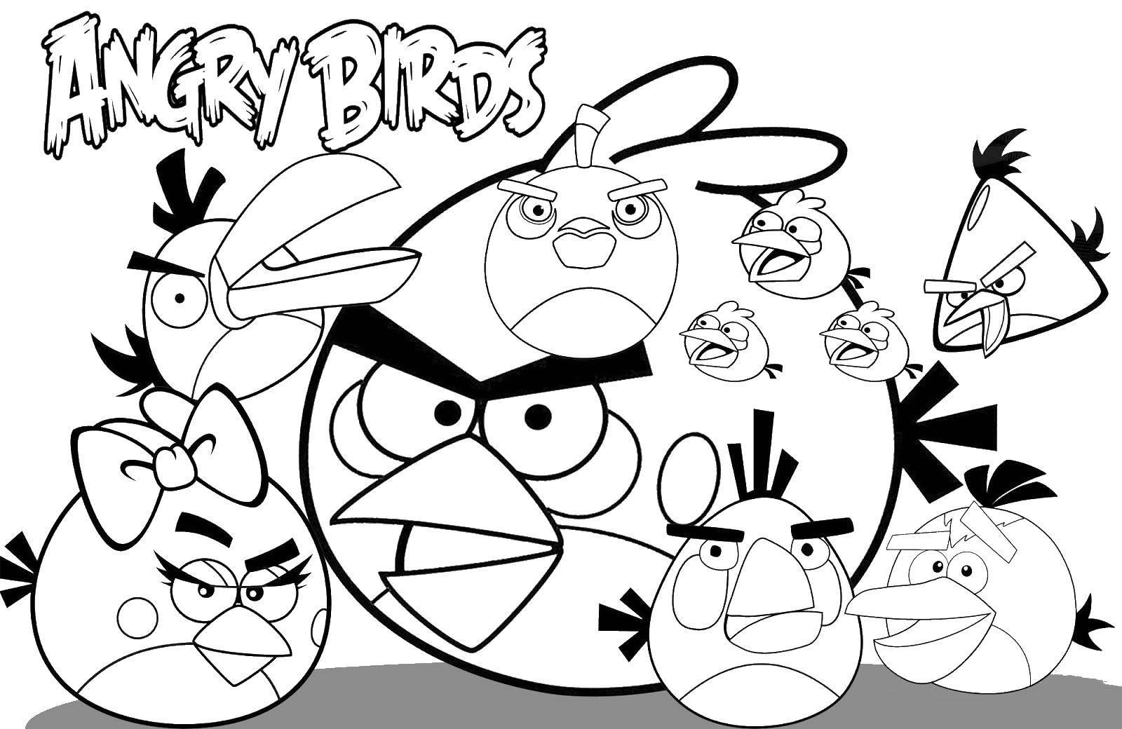 Раскраска Команда angry birds Скачать Игры, Angry Birds .  Распечатать ,angry birds,