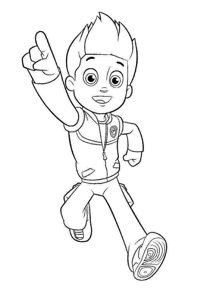 Раскраска Мальчик из щенячьего патруля Скачать щенячий патруль, мультфильмы, герои.  Распечатать ,щенячий патруль,