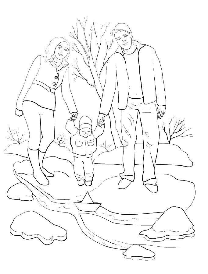 Раскраска Мама, папа и ребенок. Скачать мама, папа, ребенок, семья.  Распечатать ,большая семья,