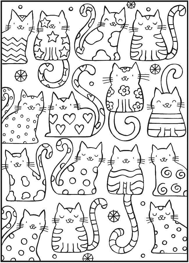 Раскраска Милашки коты Скачать Антистресс.  Распечатать ,раскраски антистресс,