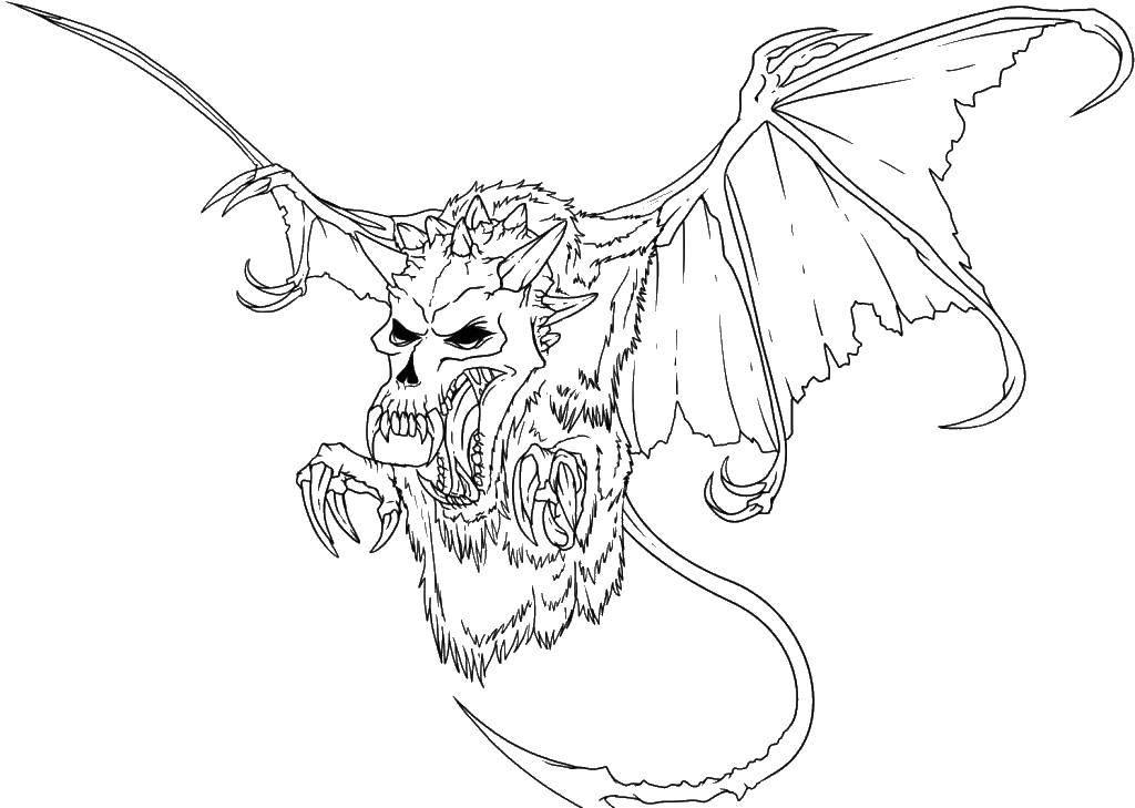 Раскраска Монстр летучая мышь Скачать монстр, клыки, летучая мышь.  Распечатать ,Раскраски монстры,