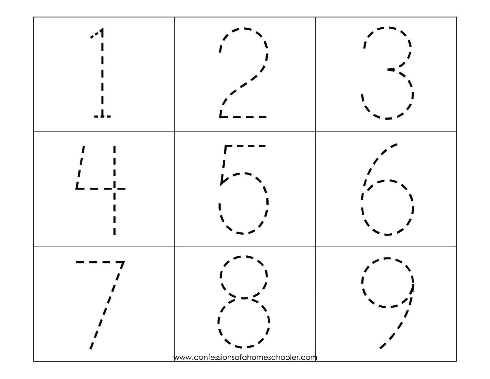 Раскраска Обведи по контуру цифры Скачать Цифры, счёт, числа.  Распечатать ,Цифры,