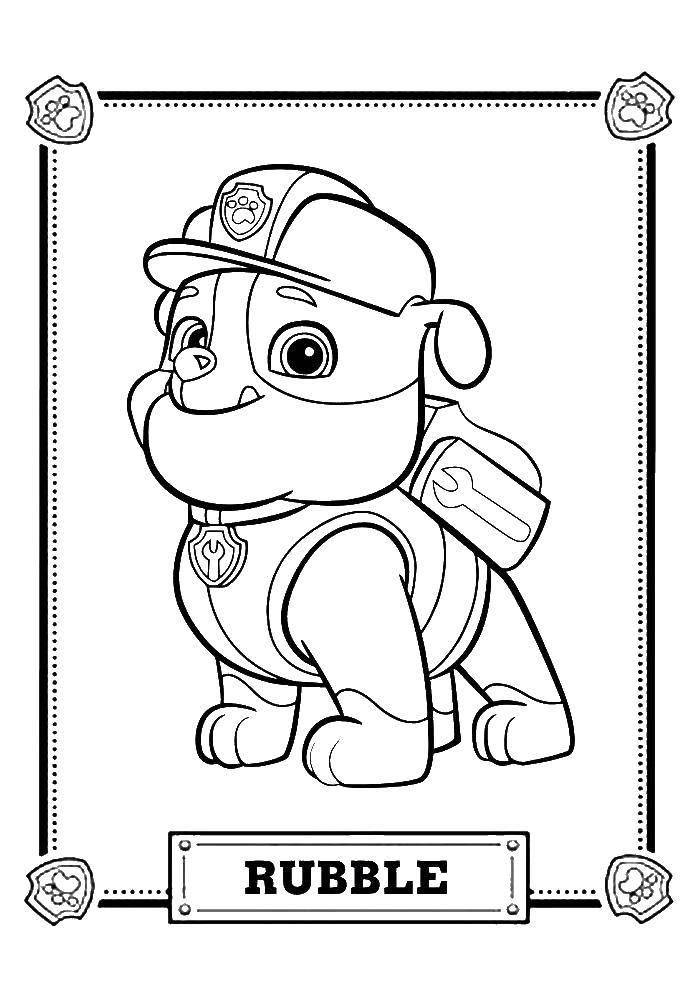 Раскраска Раббл Скачать щенячий патруль, мультфильмы, раббл.  Распечатать ,щенячий патруль,