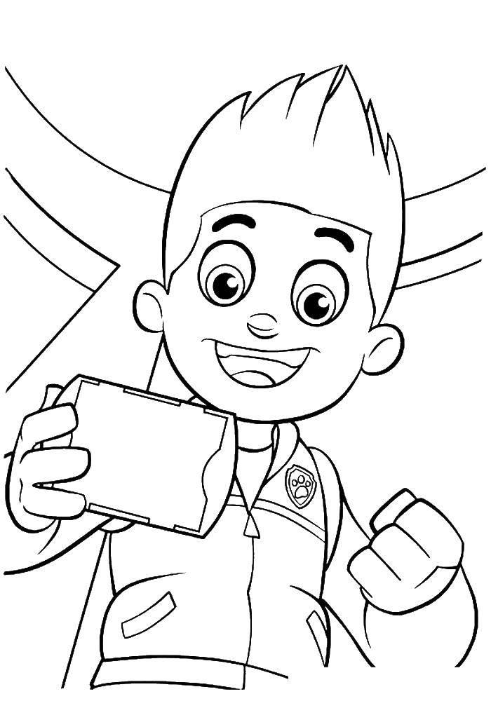 Раскраска Щенячий патруль Скачать щенячий патруль, мультфильмы, мальчик, герой.  Распечатать ,щенячий патруль,