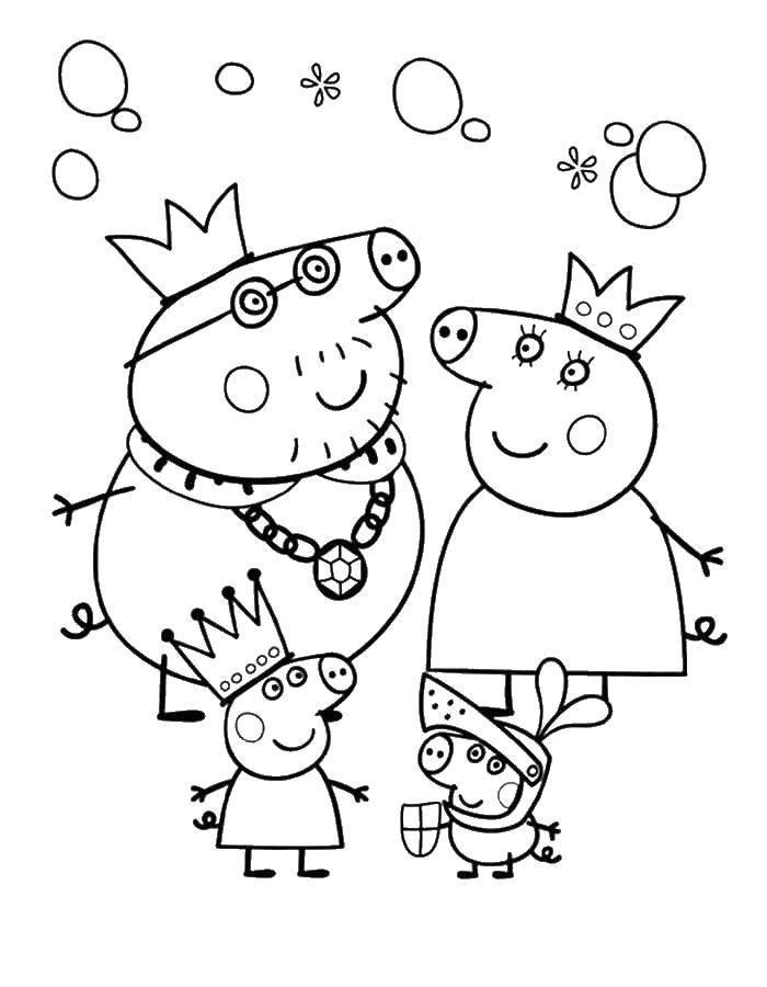 Раскраска Семья свинки пеппы Скачать ,свинка пеппа, семья, свинки,.  Распечатать