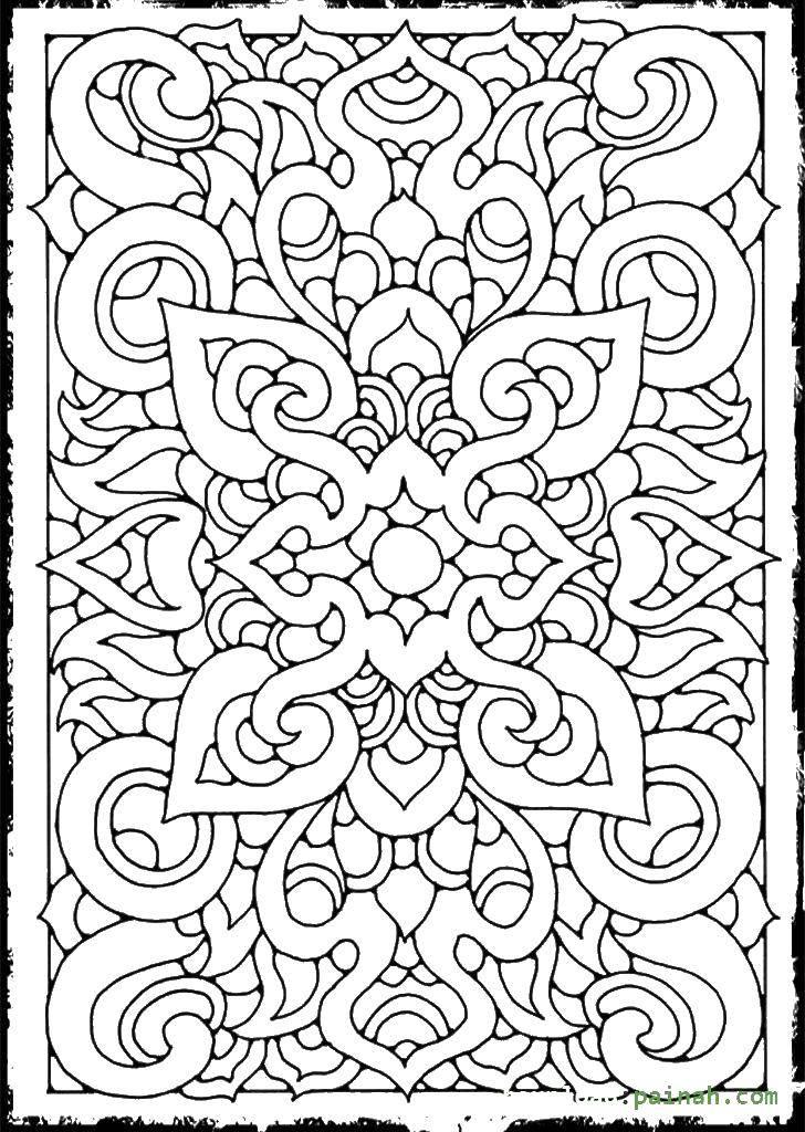 Раскраска Сложные узоры Скачать сложный дизайн, узоры, антистресс.  Распечатать ,узоры,