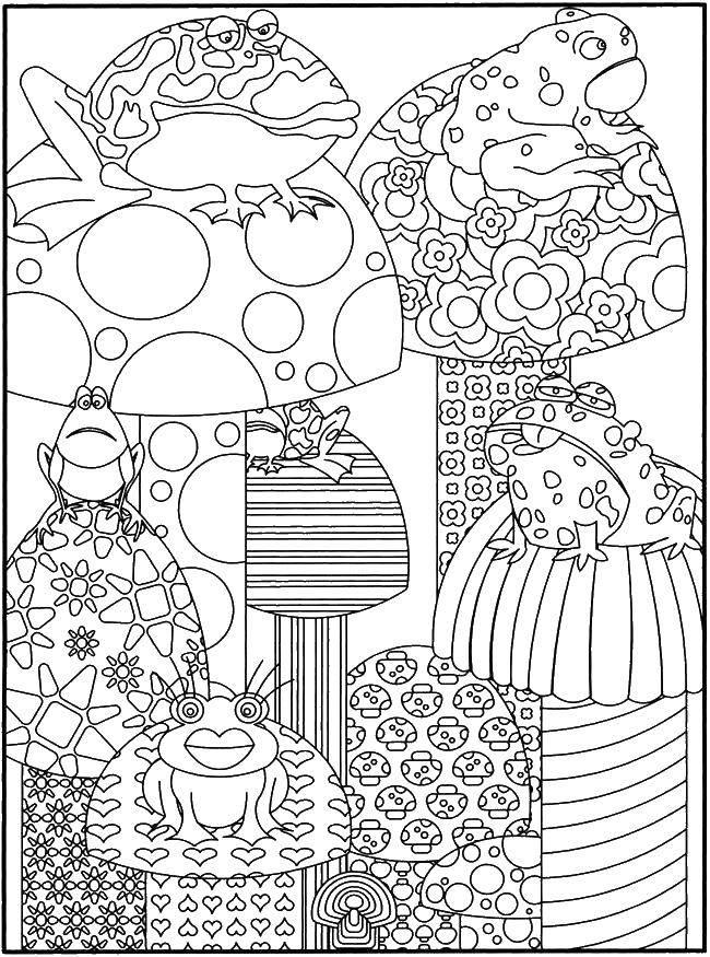 Раскраска Узорчатые грибы и лягушки. Скачать узоры, грибы, лягушки.  Распечатать ,узор,