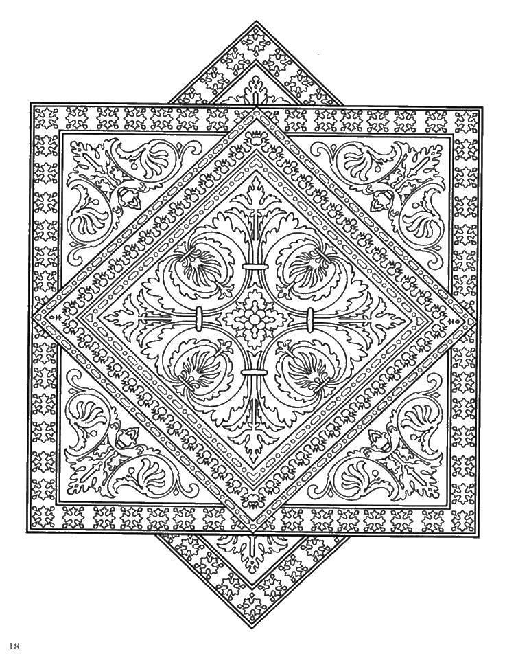 Раскраска Узорный ковёр Скачать Узоры, геометрические.  Распечатать ,узор,