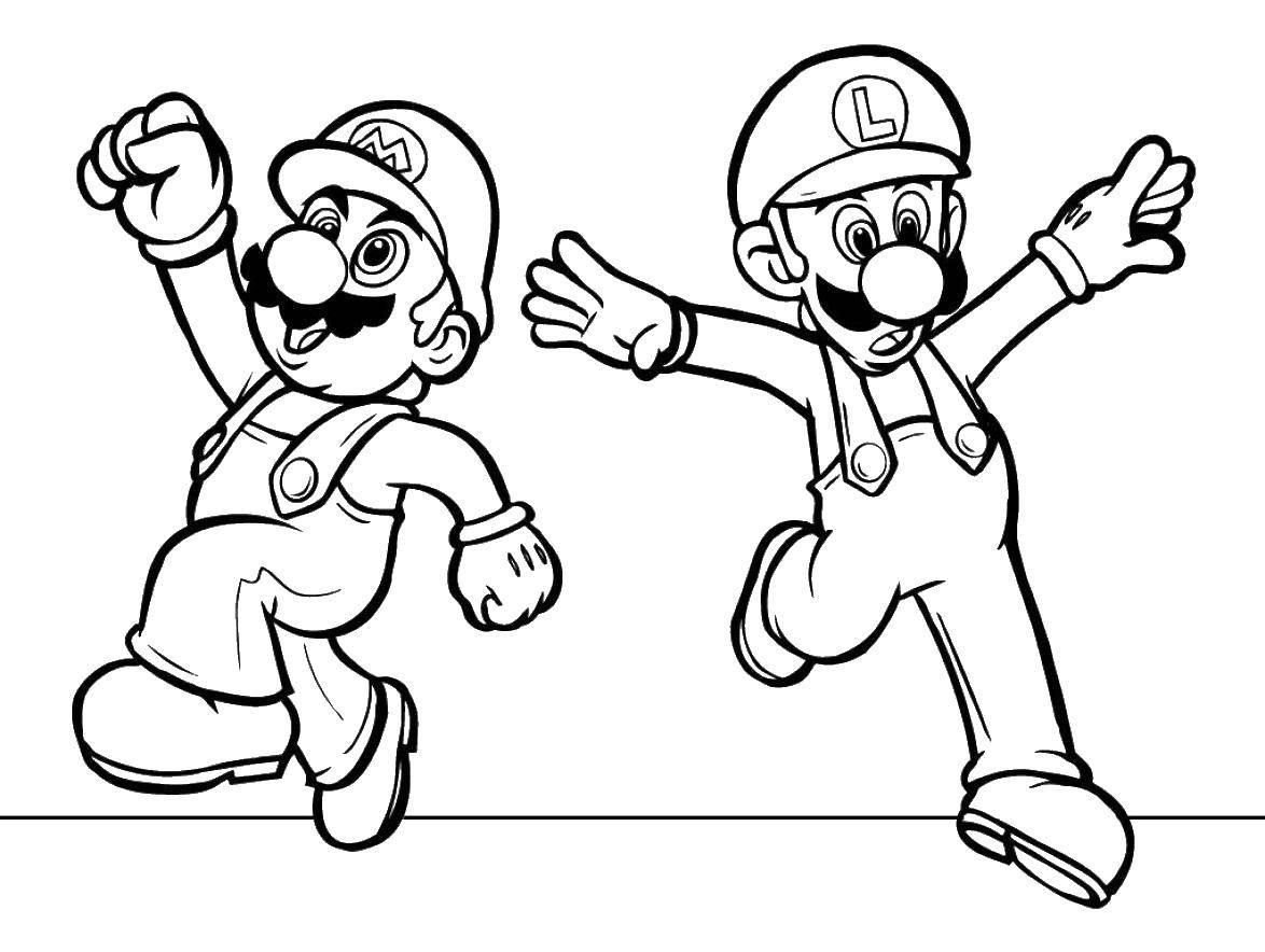 Раскраска Весёлые марио и луиджи. Скачать Игры, Марио.  Распечатать ,Персонаж из игры,